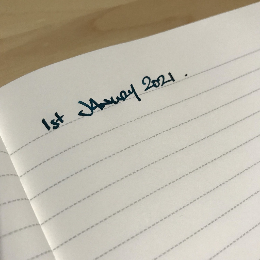 A new page in a notebook, titled with the date.